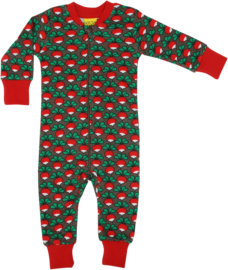 DUNS Radish Print Charcoal Organic Cotton Zip Sleepsuit