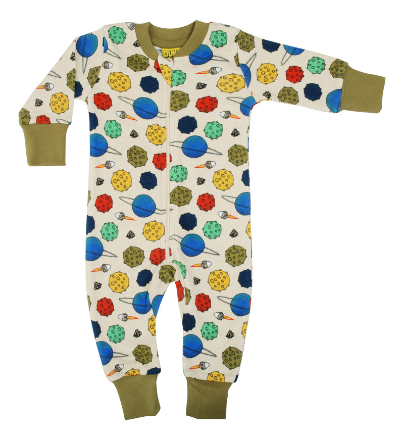 DUNS Small Planets - Putty Organic Cotton Zip Sleepsuit