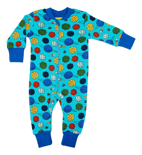 DUNS Planets Blue Organic Cotton Zip Sleepsuit