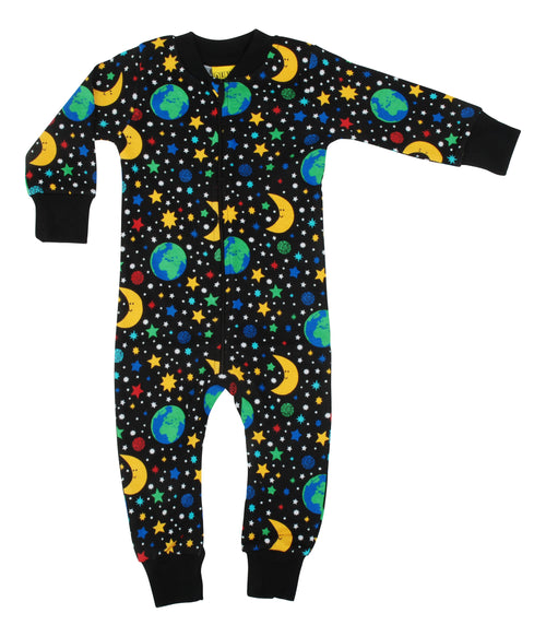 DUNS Mother Earth Print Black Organic Cotton Zip Sleepsuit