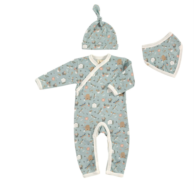 Country Garden Dragonfly Romper, Knotted Hat & Bib Organic Cotton Gift Set for Baby Girls