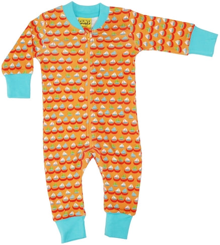 Organic Cotton Sailing Boat Print Orange Zip Sleepsuit