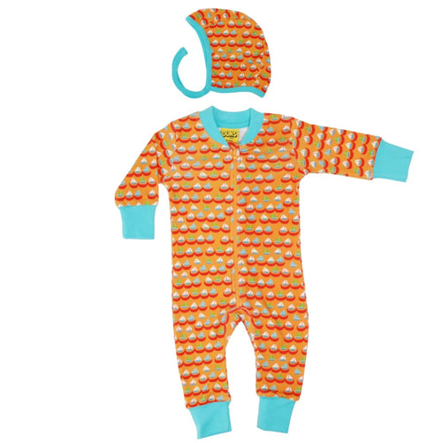 Organic Cotton Sailing Boat Print Orange Zip Sleepsuit & Bonnet Gift Set