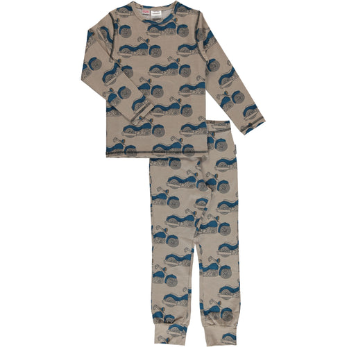 Maxomorra Motorcycle Print Long Sleeve Pyjamas Set