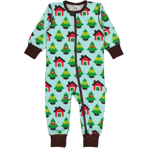 Maxomorra Forest Zipper Romper Sleepsuit