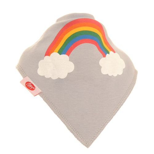Ziggle Bandana Rainbow Print on Grey Dribble Bib