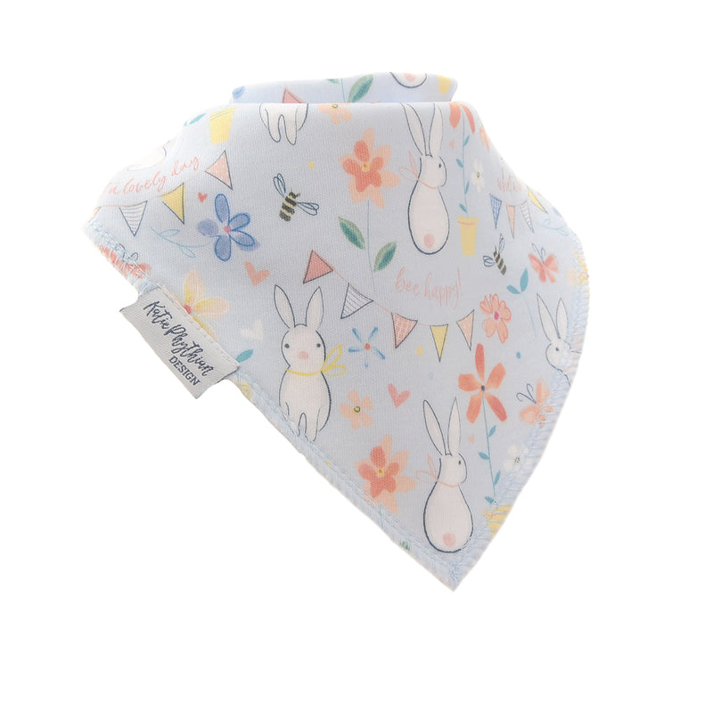 Ziggle Bandana Rabbits and Bees Print Dribble Bib