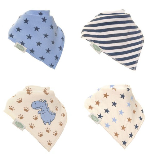 Ziggle Baby Dino and Stars 4 Pack Bandana Bib Set