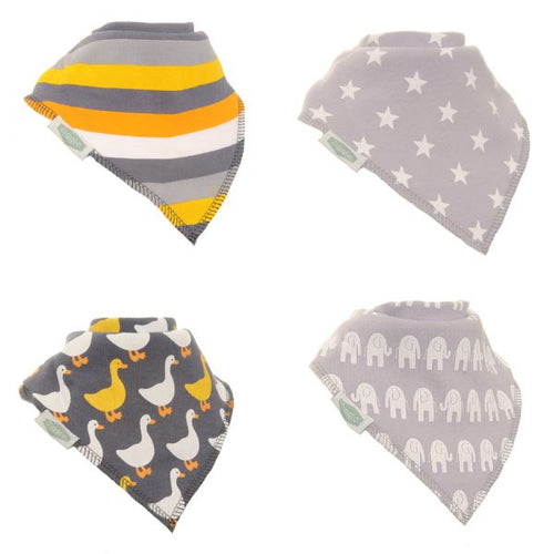 Ziggle Baby Stylish Greys 4 Pack Bandana Bib Set