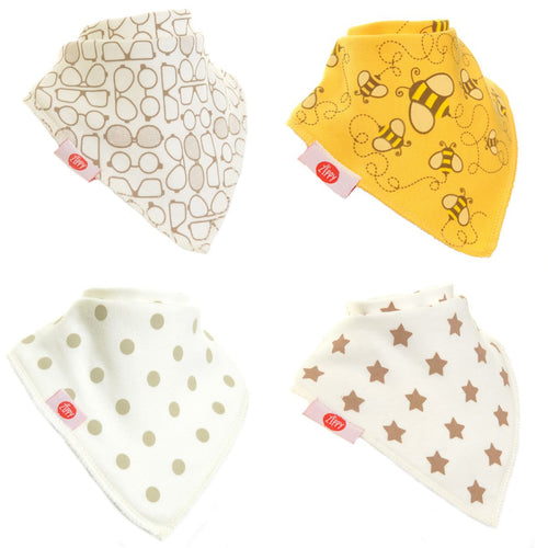 Zippy Baby Stylish Cream Bandana Dribble Bib 4 pack