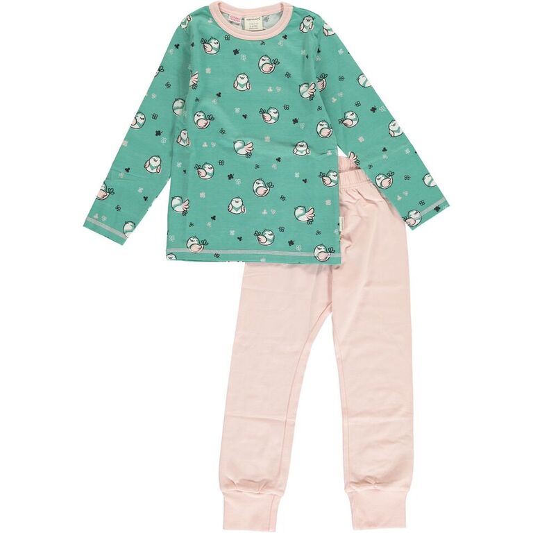 Maxomorra Little Sparrow Print Long Sleeve Pyjamas Set