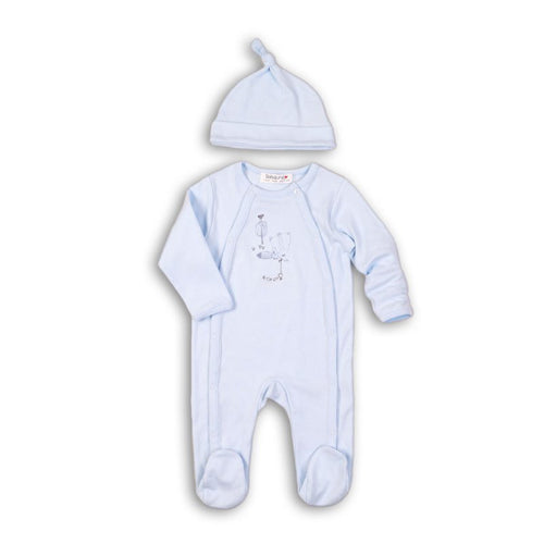 Baby Blue Fishing Print Cotton Sleepsuit & Knotted Hat Set
