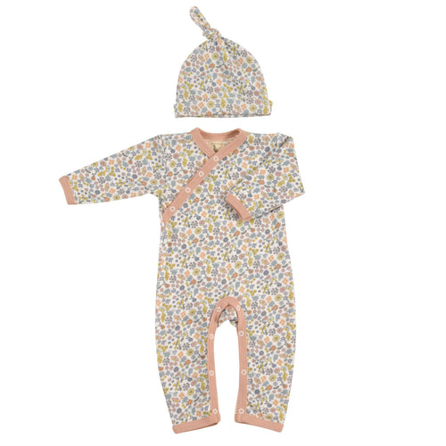 Organic Babygrow & Hat gift set for girls - Floral Vintage Romper hat set