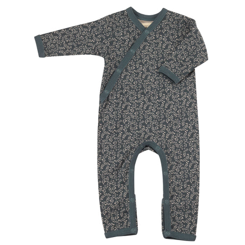 Organic Cotton Leaf Print Teal Romper