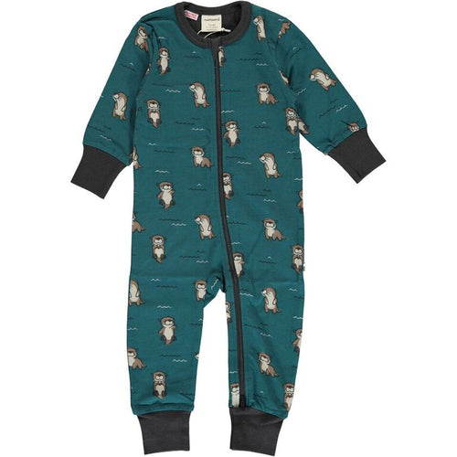Maxomorra Curious Otter Print Long Sleeve Zip Rompersuit