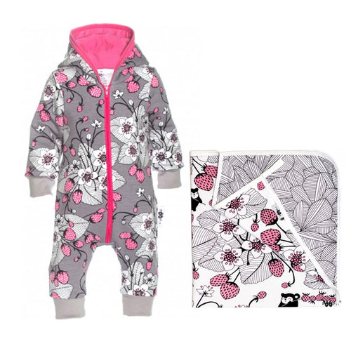 RIEMU Hooded Onesie & Blanket Gift Set - Strawberry Print by PaaPii