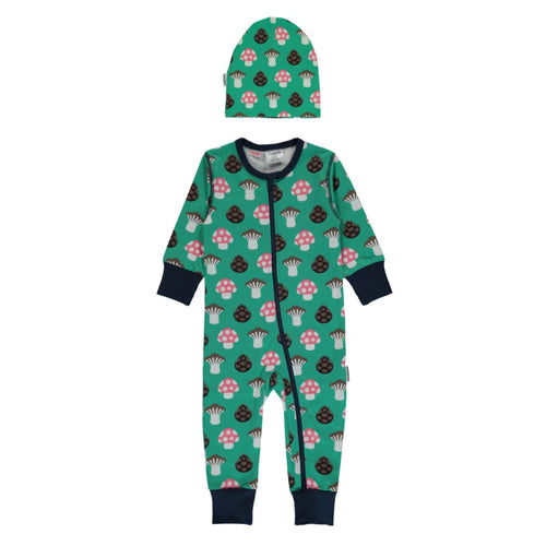 Maxomorra Mushroom Print Organic Cotton Zip Romper & Beanie Hat Gift Set