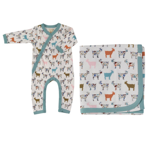Organic Cotton Colourful Goat Print Romper & Blanket Gift Set