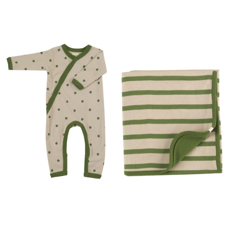 Organic Cotton Green and Pumice Romper & Blanket Gift Set