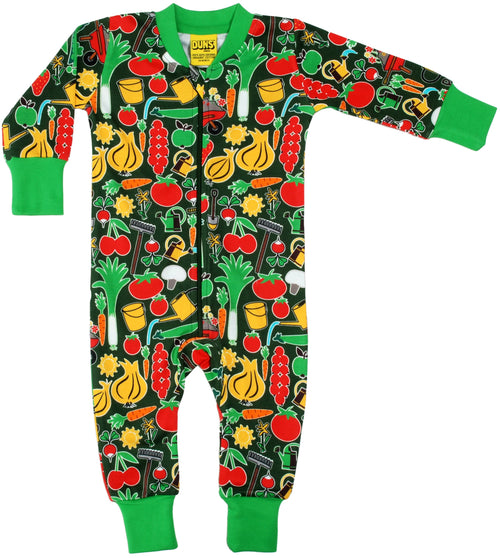 Parklife Green Vegetable DUNS Organic Cotton Zip Sleepsuit