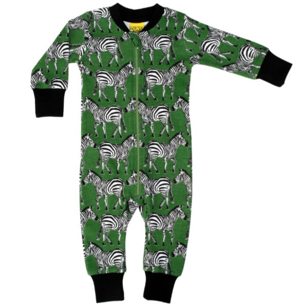 Funky Green Zebra Print Organic Cotton Zip Sleepsuit