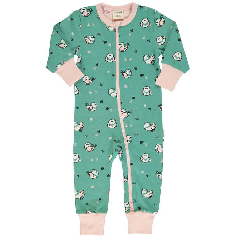 Maxomorra Little Sparrow Print Long Sleeve Zip Rompersuit