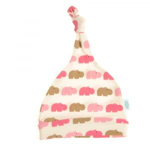 Ziggle Baby Cotton knotted Hat Pink and Beige Hippos