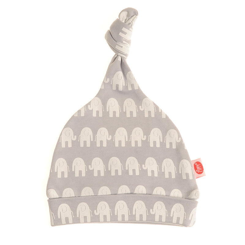 Ziggle Baby Cotton knotted Hat Grey with White Elephants