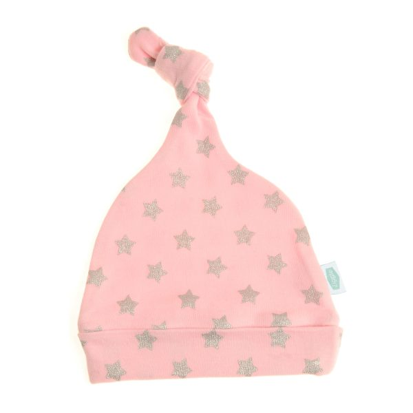 Ziggle Baby Cotton Knotted Hat - Pink With Silver Glitter Stars