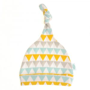 Ziggle Baby Cotton Knotted Hat - Gold, Silver and Teal Geo Triangles