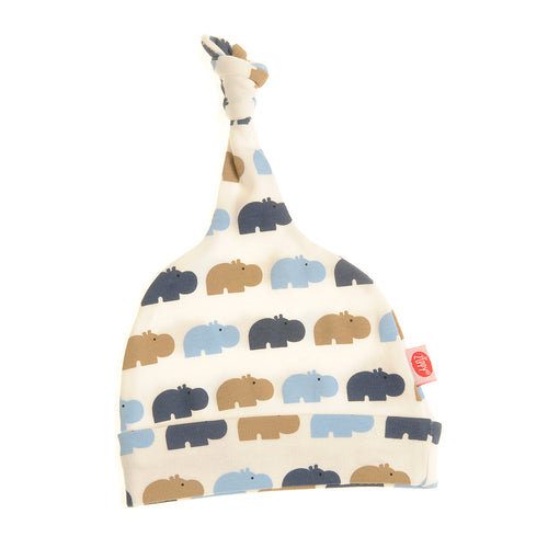 Ziggle Baby Cotton knotted Hat Blue and Beige Hippos
