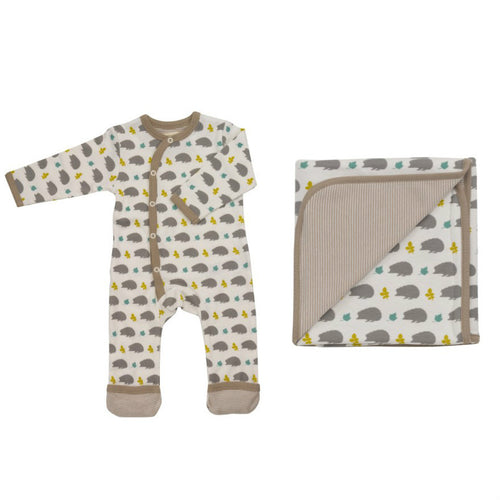 hedgehog print babygrow and blanket gift set