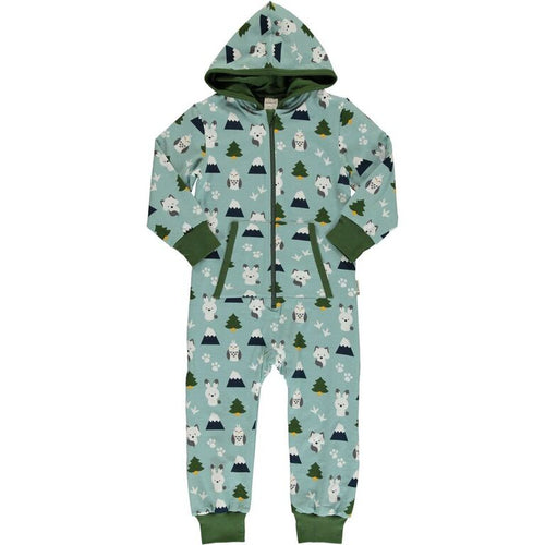 Maxomorra Winter World Print Hooded Onesie