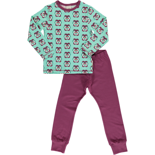 Maxomorra Purple Pansy Print Long Sleeve Pyjamas Set