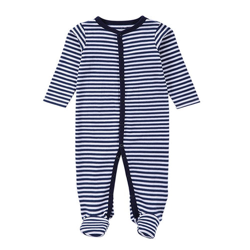 Navy Stripe Cotton Babygrow