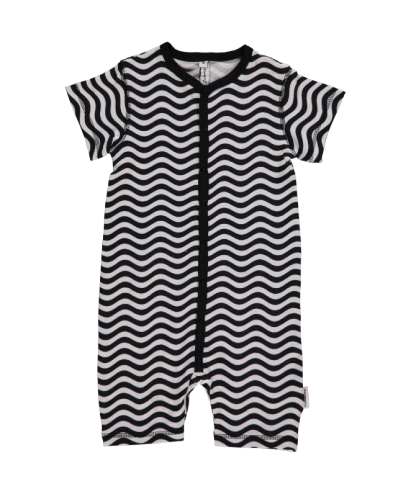 Organic Black & White Short Sleeve Waves Rompersuit Sleepsuit Babygrow
