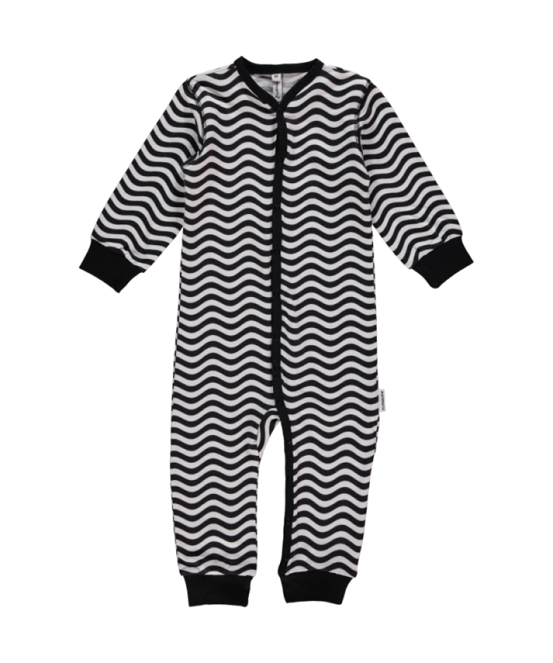Organic Black & White Long Sleeve Waves Rompersuit Sleepsuit