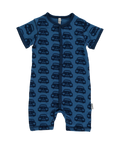 Blue Cars Short Sleeve Rompersuit From babygrow.ie Organic Cotton Onsie