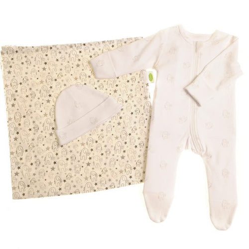 Zippy New Baby Gender Neutral Giftset - Babygrow, Muslin and Hat Gift Set