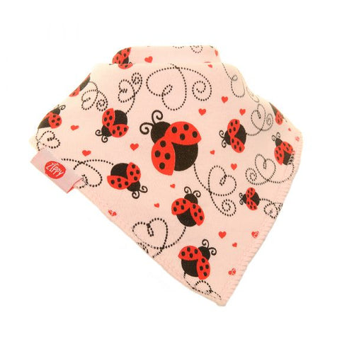 Zippy Bandana Dribble Bib Ladybird on Pink