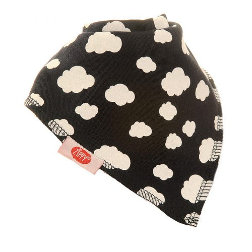 Zippy Bandana Dribble Bib Fluffy Clouds on Navy Sky