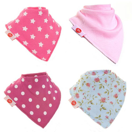 Zippy Baby Girl Bandana Dribble Bib 4 pack Pinks Mix