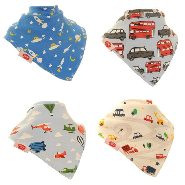 Zippy Baby Boy Bandana Dribble Bib 4 pack Zoom!