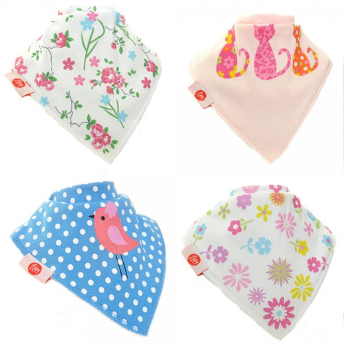 Zippy Baby Girl Bandana Dribble Bib 4 pack Cool