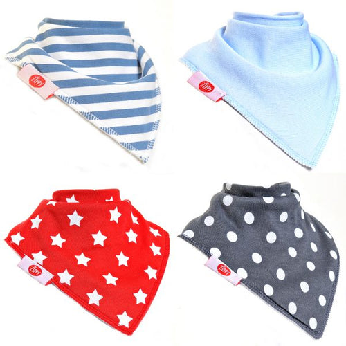 Ziggle Baby Boys Bandana Dribble Bib 4 pack Solid Stripe Star Spot Mix