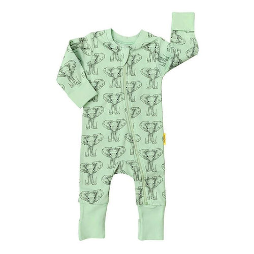 Elephant Print Organic Cotton ZIPPYBOO Sleepsuit