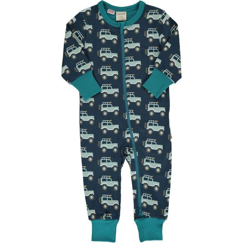 Maxomorra Jeep Adventure Print Long Sleeve Zip Rompersuit