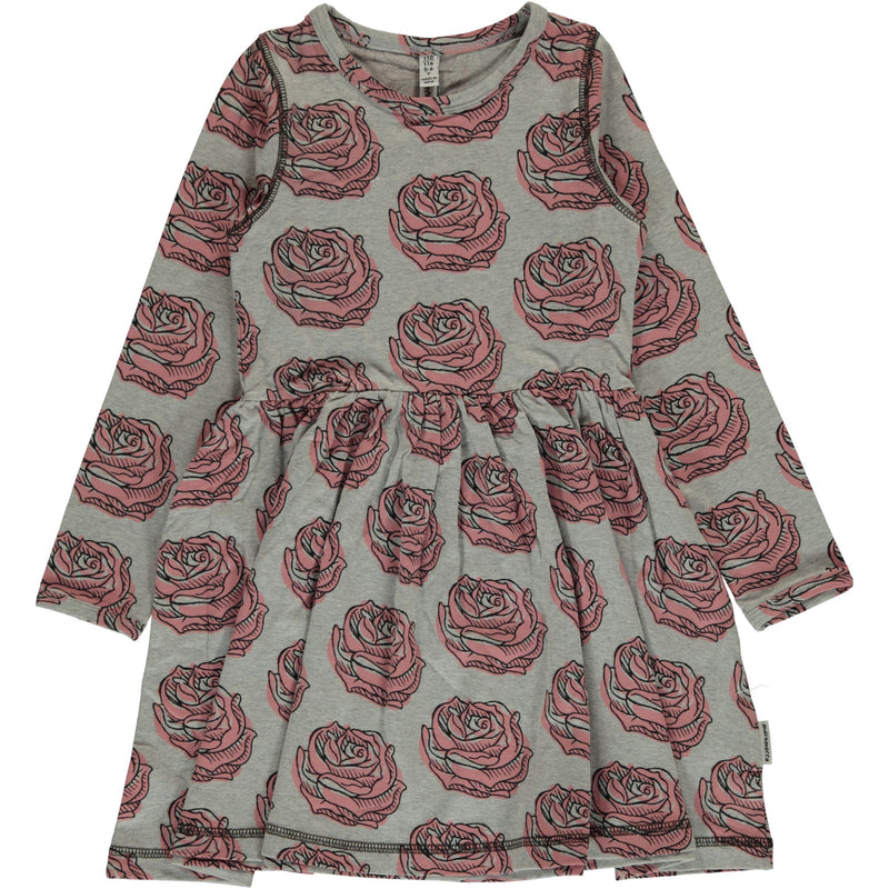 Maxomorra Rose Print Long Sleeve Spin Dress