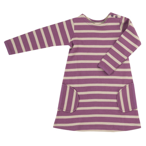 Organic Cotton Purple and Pumice Stripe Long Sleeve Breton Dress