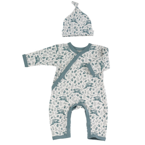 Organic Cotton Blue Hare Print Romper and Knotted Hat Gift Set